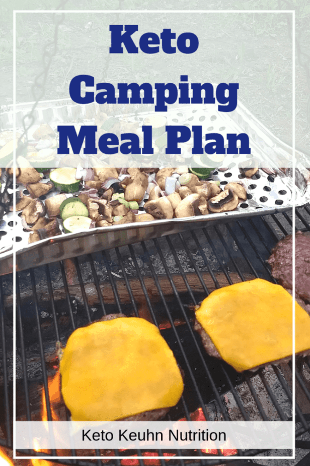 keto camping meal plan. keto veggies and cheeseburgers on a camp fire