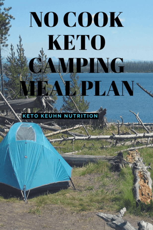 Pin image for no cook keto camping meal plan