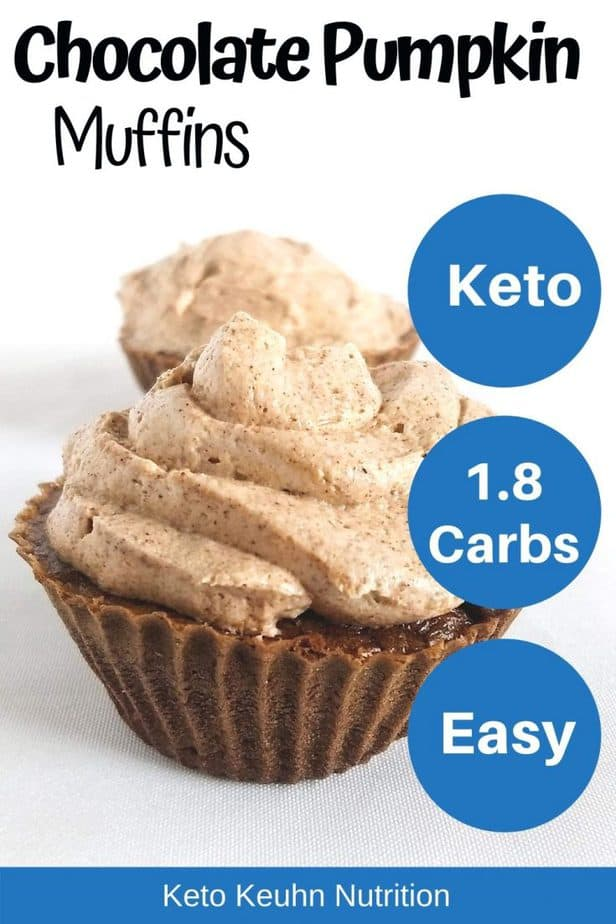 3 1 735x1103 - Keto Chocolate Pumpkin Muffins with Spiced Buttercream Frosting (w video)
