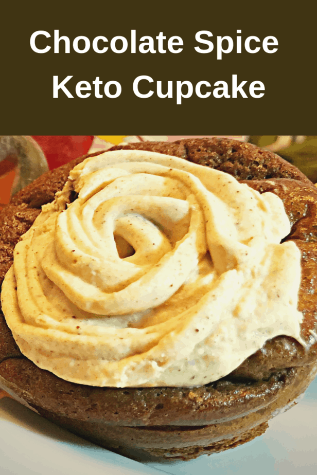 keto chocolate spice cupcake with pumpkin frosting