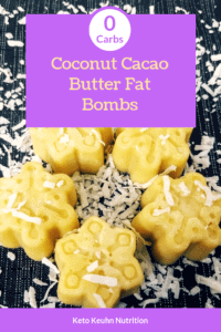 This Coconut Cacao Butter Fat Bomb recipe will keep their shape at room temp. They of course will also be coconuty and a delicious fat bomb dessert!