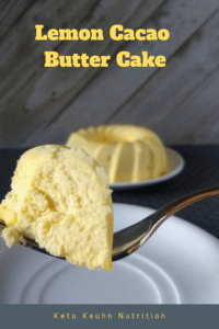 This whole keto lemon cacao butter cake only gives you 1.6 total grams of carbs. Not only are the carbs low, it makes a great fat bomb treat.