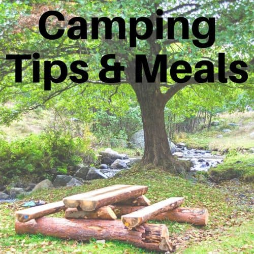picknic table next to a tree with text stating camping tips and meals