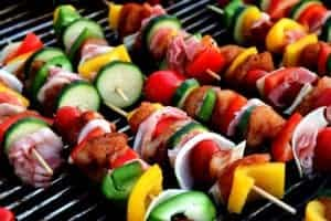 meat and veggie kabobs