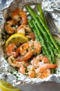 shrimp asparagus foil garlic lemon butter sauce