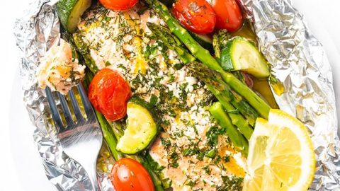 wholesomeyum baked salmon foil packets with vegetables grill option 7 480x270 - 20 Keto Camping Recipes