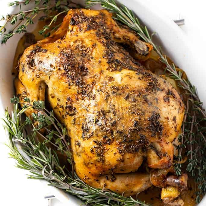 wholesomeyum crock pot whole chicken recipe with garlic herb butter 4 - 51 of the Best Carnivore Diet Recipes