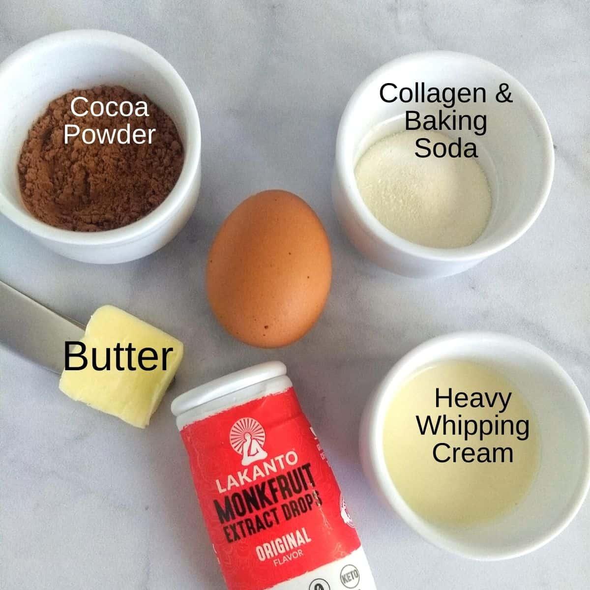 Keto Chocolate Mug Cake ingredients - Keto Chocolate Mug Cake