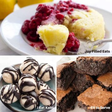 3 images: lemon mugcake, truffles, brownies