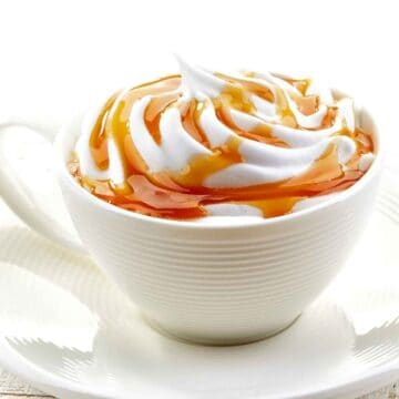 latte drizzled with caramel sauce