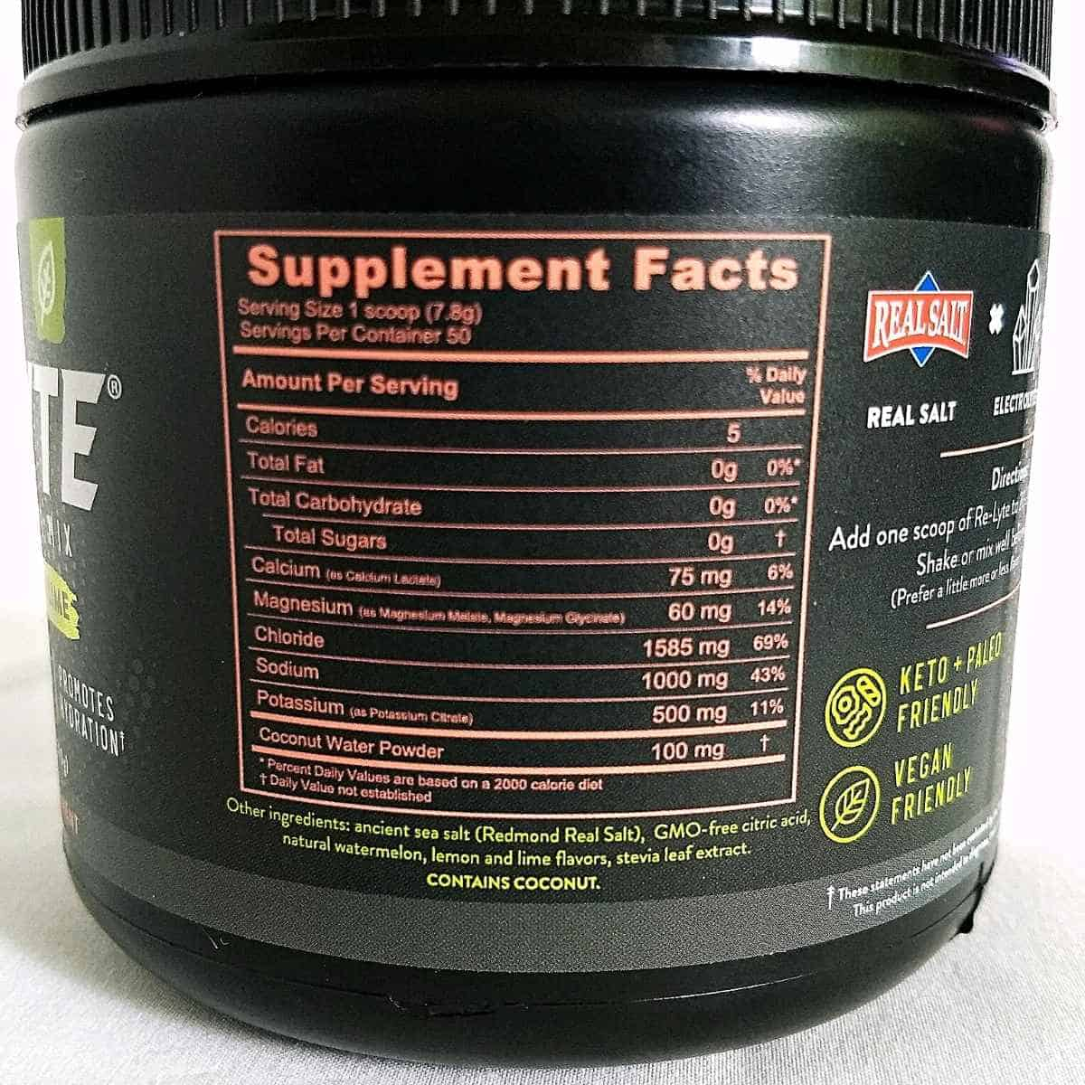 nutrition of relyte mix - Re-Lyte Electrolyte Drink Mix: Review
